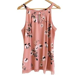 Torrid Floral Lace Goddess Tank in Coral Pink